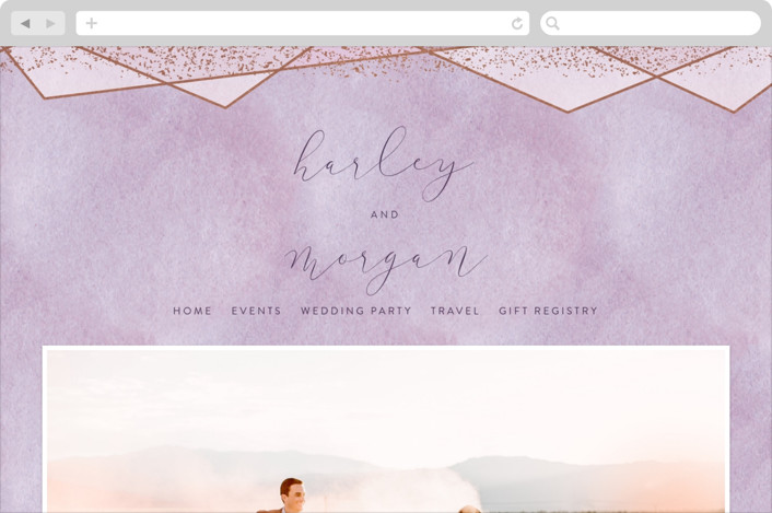 Amethyst Watercolor Wedding Websites by Hooray Creative