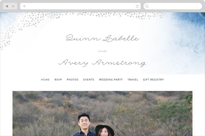 This is a blue wedding website by Maria Hilas Louie called Watercolor Dots printing on digital paper.