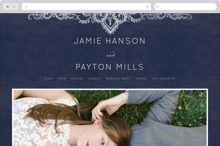 """""""Indigo Lace"""" - Wedding Websites in Navy by Krista Messer."""