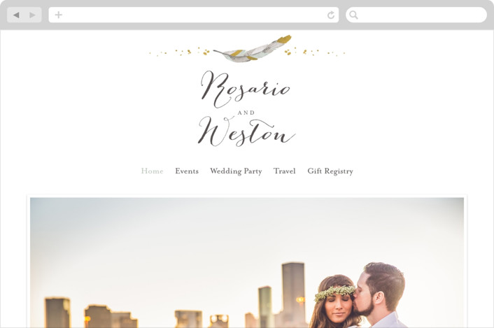 """Dipped Feathers"" - Wedding Websites in Mint by Pistols."