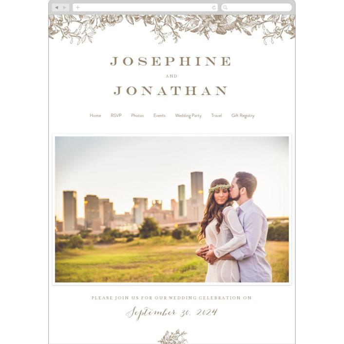 """""""Engraved Flowers"""" - Wedding Websites in Latte by Phrosne Ras."""