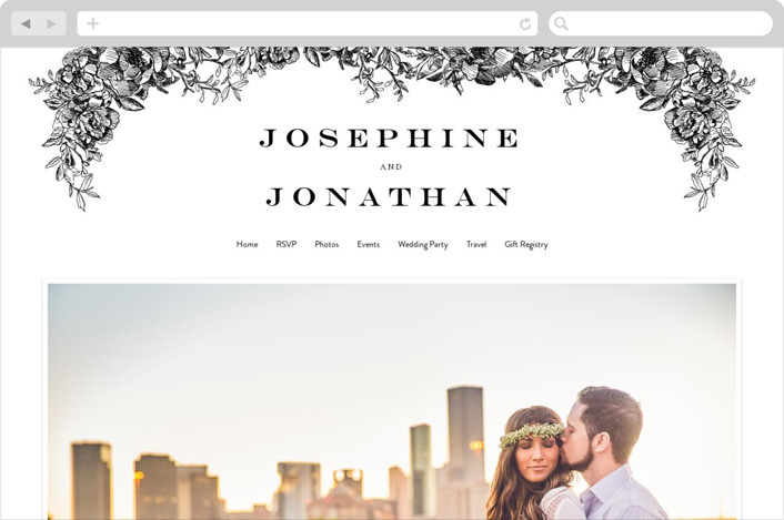 This is a black wedding website by Phrosne Ras called Engraved Flowers printing on digital paper.