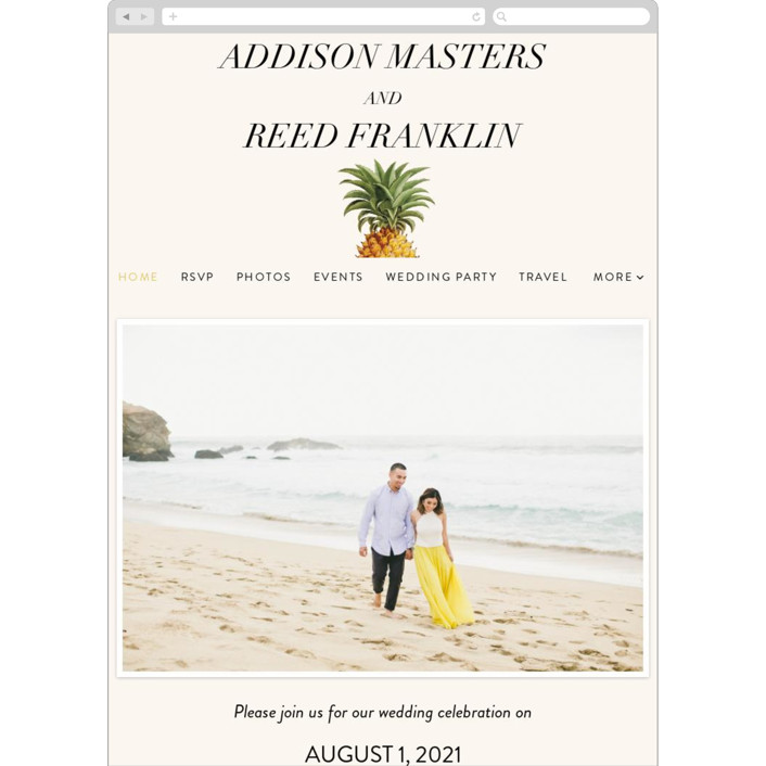 """""""Party in Paradise"""" - Wedding Websites in Pineapple by Fig and Cotton."""