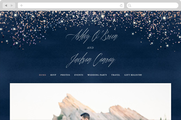 """Sparkling Night Sky"" - Bohemian Wedding Websites in Midnight by Hooray Creative."