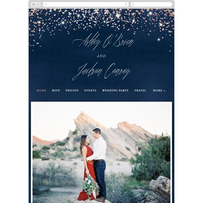 """Sparkling Night Sky"" - Bohemian Wedding Websites in Midnight by Hooray Creative."
