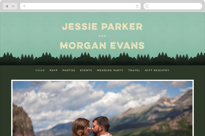 """Mountain View"" - Wedding Websites in Forest by Coco and Ellie Design."