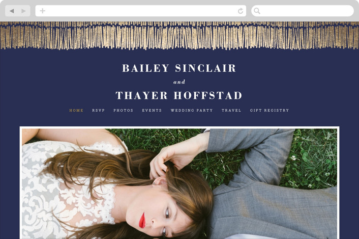 """Shimmer"" - Wedding Websites in Midnight by Olivia Raufman."