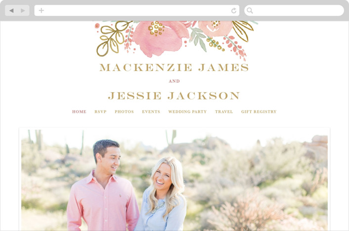 """Floral Vignette"" - Wedding Websites in Brass by Kristen Smith."
