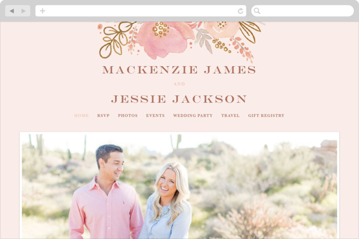 This is a colorful wedding website by Kristen Smith called Floral Vignette printing on digital paper.