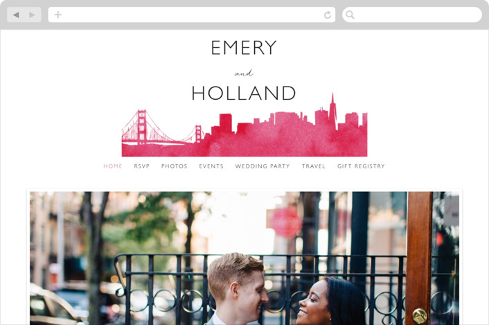 This is a pink wedding website by Laura Condouris called Skyline San Francisco Wedding Invitations printing on digital paper.