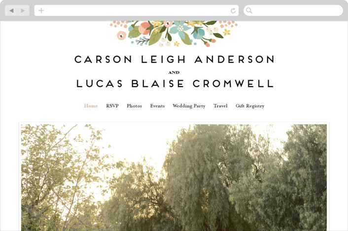 Floral Ampersand Wedding Websites by Jennifer Wick