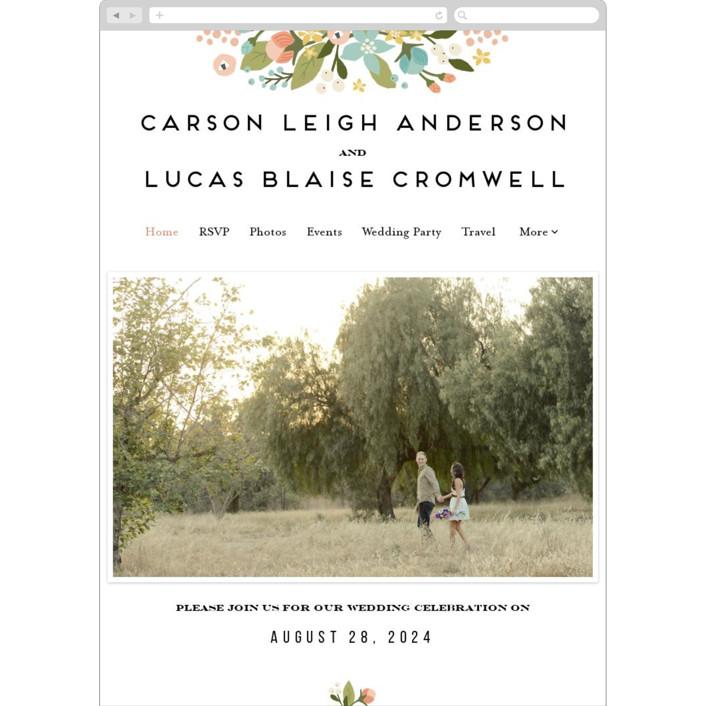 """""""Floral Ampersand"""" - Wedding Websites in Sea Breeze by Jennifer Wick."""