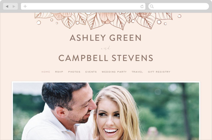 """""""Resplendent"""" - Wedding Websites in Blush by GeekInk Design."""