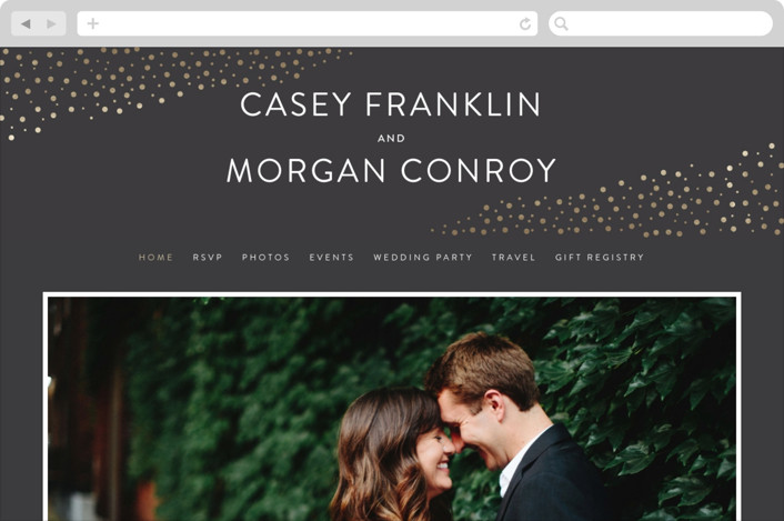 """Modern Glam"" - Wedding Websites in Soft Black by Robinson Paperie."