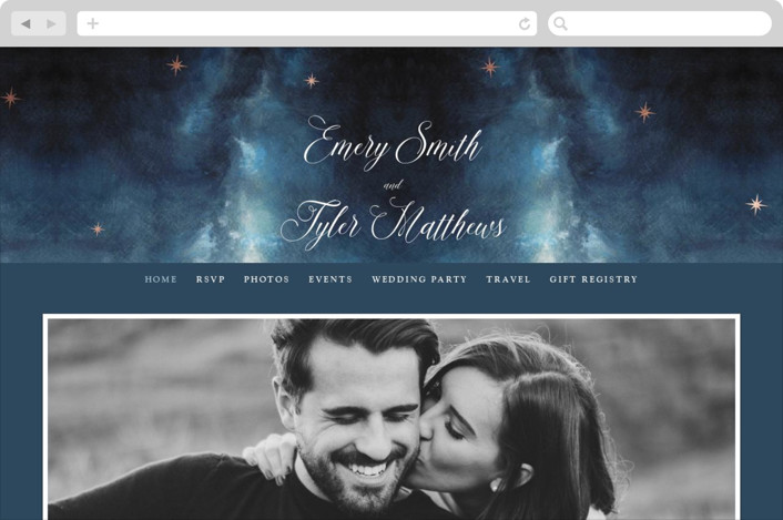 """Stellar"" - Wedding Websites in Midnight by Elly."