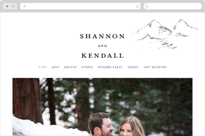 """Sketched Mountains"" - Wedding Websites in Snow by Nikkol Christiansen."