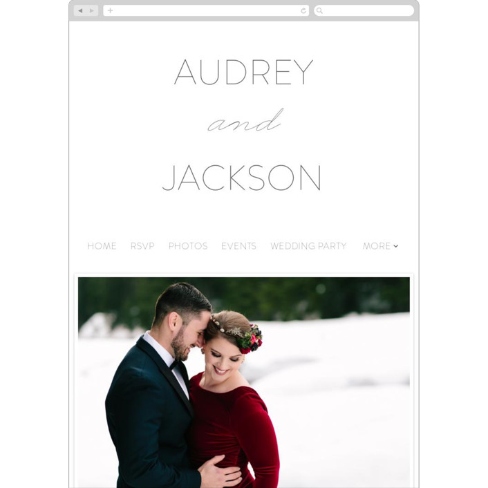 """""""Forever And"""" - Bold typographic, Traditional Wedding Websites in Winter by Kim Dietrich Elam."""