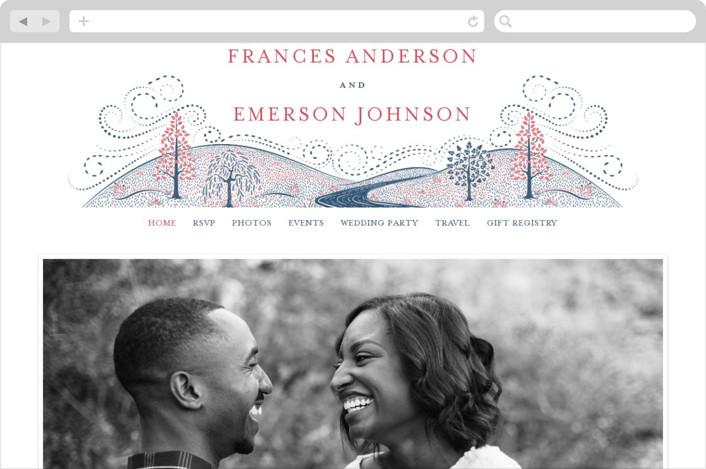 """""""Into the Woods"""" - Wedding Websites in Indigo by Paper Sun Studio."""