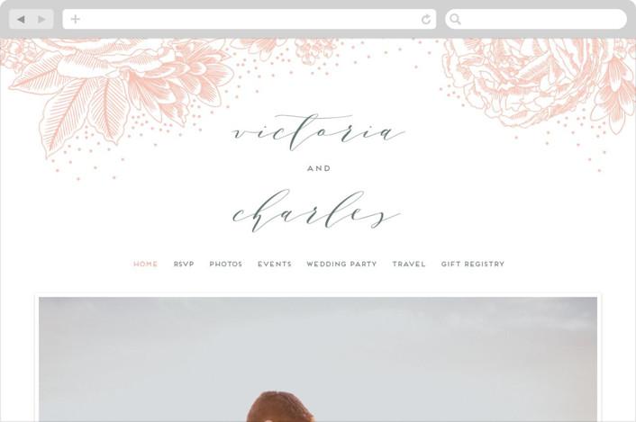 """Peony Love"" - Wedding Websites in Peach by iamtanya."