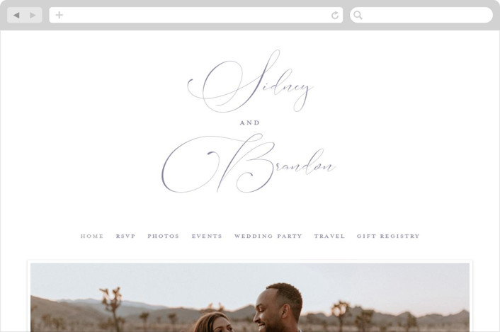 This is a purple wedding website by Jessica Williams called Lightly Penned printing on digital paper.