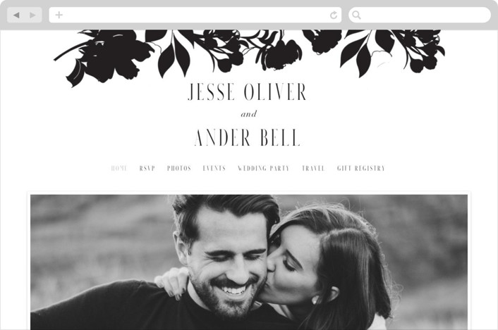 """Floral Border"" - Wedding Websites in Soft Black by Baumbirdy."