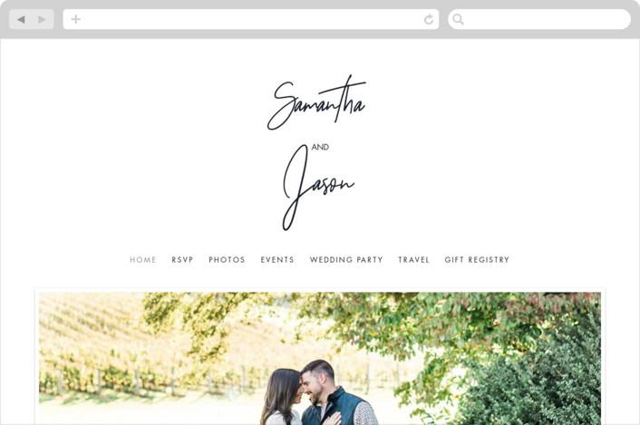 This is a black wedding website by Kelly Schmidt called Modern Script printing on digital paper.
