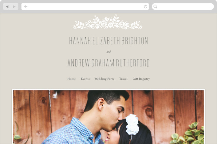 This is a brown wedding website by Jessica Williams called White Shadows printing on digital paper.