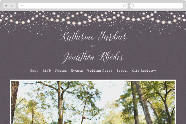 This is a purple wedding website by Hooray Creative called Garden Lights printing on digital paper.
