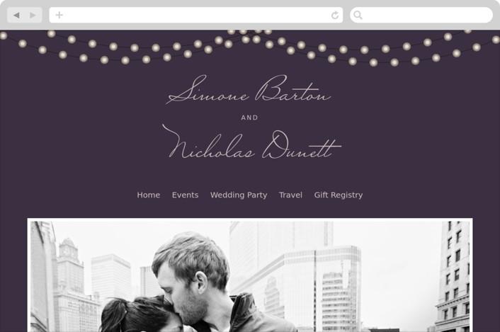 """Midnight Vineyard"" - Wedding Websites in Deep Eggplant by Design Lotus."