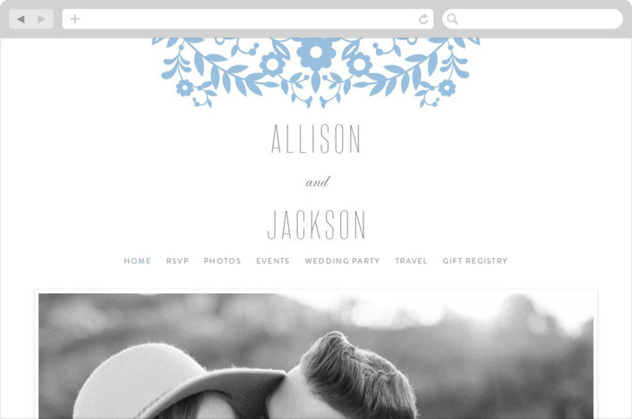 """Paper Flowers"" - Wedding Websites in Sky Blue by Kristen Smith."