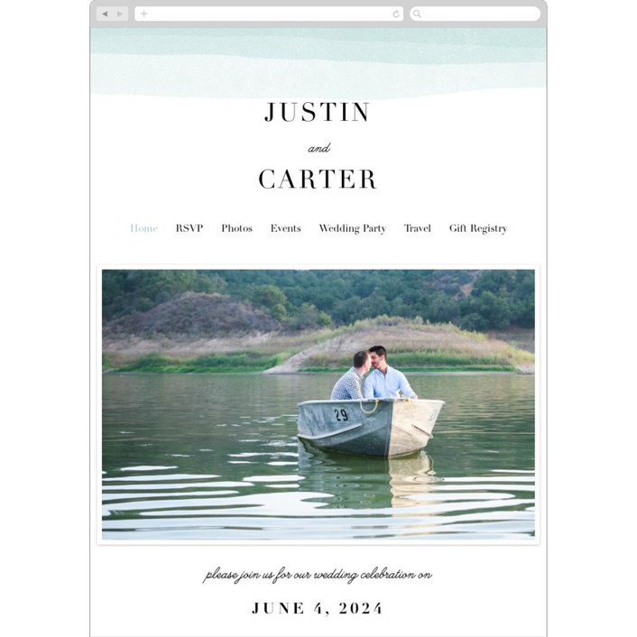 """Old Post Road"" - Beach, Elegant Wedding Websites in Sea Salt by Jennifer Wick."