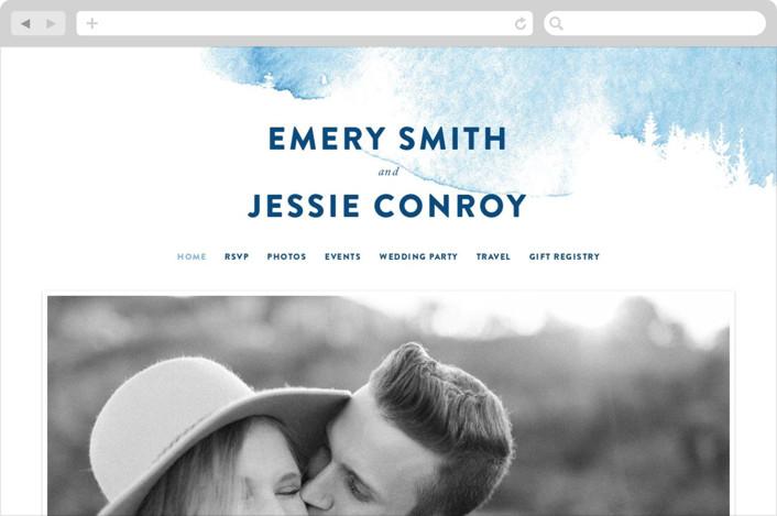 """misty forest"" - Wedding Websites in Navy by Ariel Rutland."