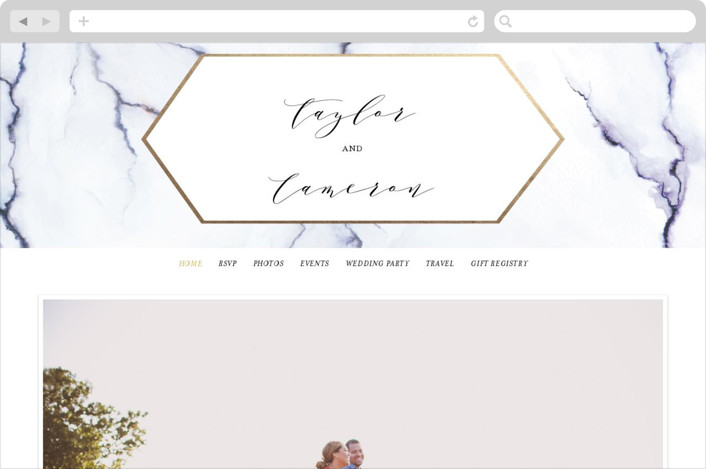 """Marbled"" - Wedding Websites in Gold by Itsy Belle Studio."