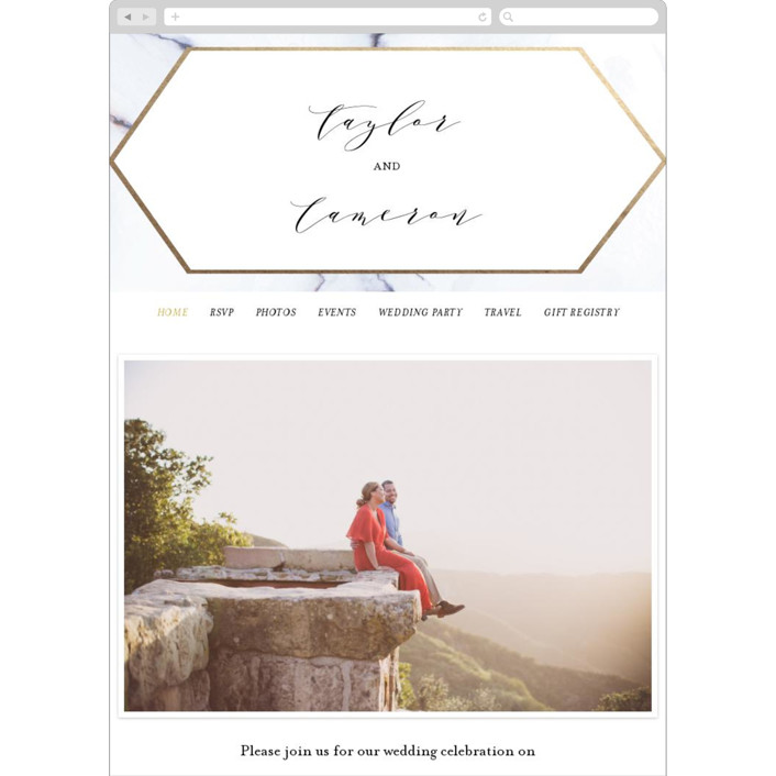 """""""Marbled"""" - Wedding Websites in Gold by Itsy Belle Studio."""