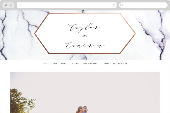 This is a rosegold wedding website by Itsy Belle Studio called Marbled printing on digital paper.