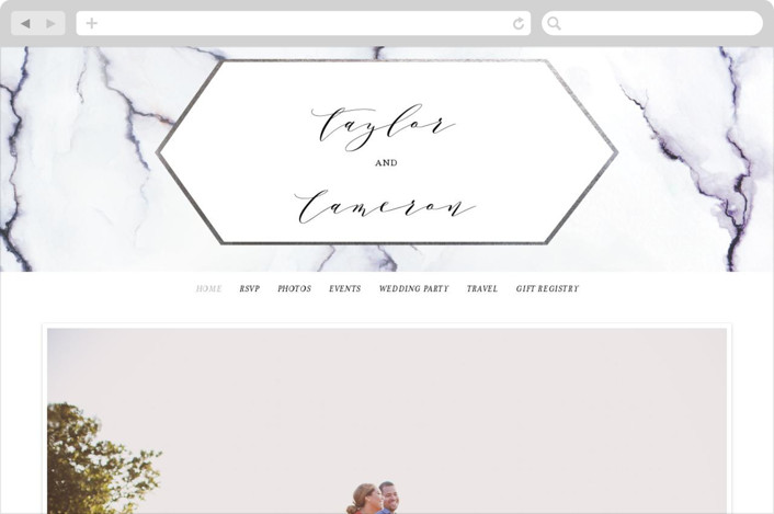 This is a silver wedding website by Itsy Belle Studio called Marbled printing on digital paper.