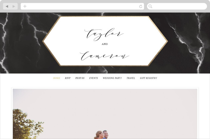 This is a black and white wedding website by Itsy Belle Studio called Marbled printing on digital paper.