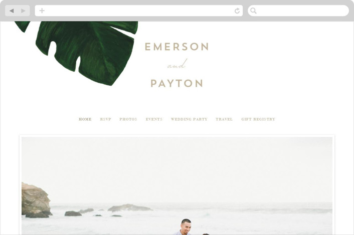 """""""Palm"""" - Wedding Websites in Classic Palm by Kaydi Bishop."""