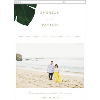 This is a white wedding website by Kaydi Bishop called Palm printing on digital paper in standard.