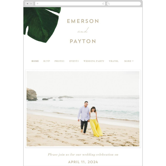 """Palm"" - Wedding Websites in Classic Palm by Kaydi Bishop."