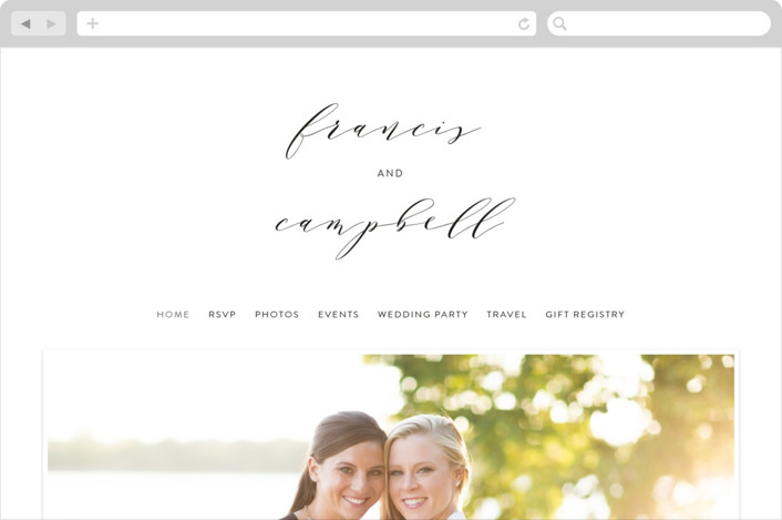 This is a black and white wedding website by Phrosne Ras called Simple Elegance printing on digital paper.
