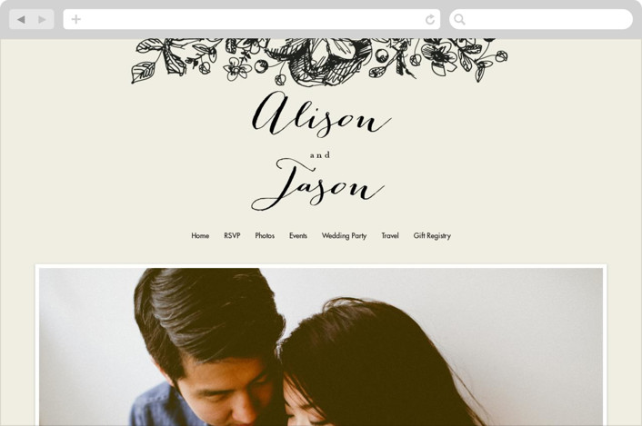 """Elegance Illustrated"" - Wedding Websites in Beige by Phrosne Ras."