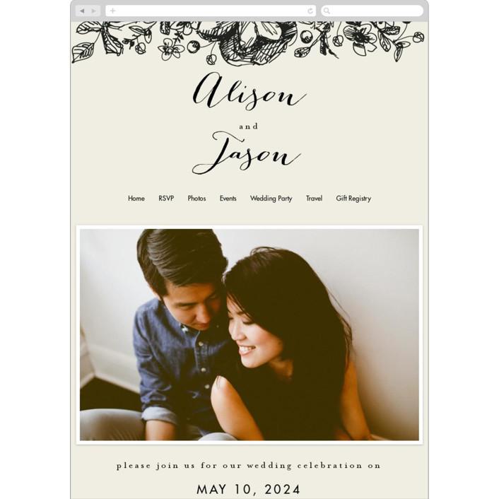 """Elegance Illustrated"" - Wedding Websites in Beige by Phrosne Ras."