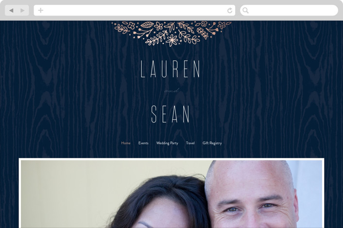 """Into the Woods"" - Wedding Websites in Navy by Hooray Creative."