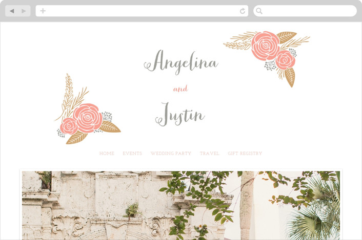 """""""Floral Romance"""" - Rustic, Floral & Botanical Wedding Websites in Gold by Hooray Creative."""