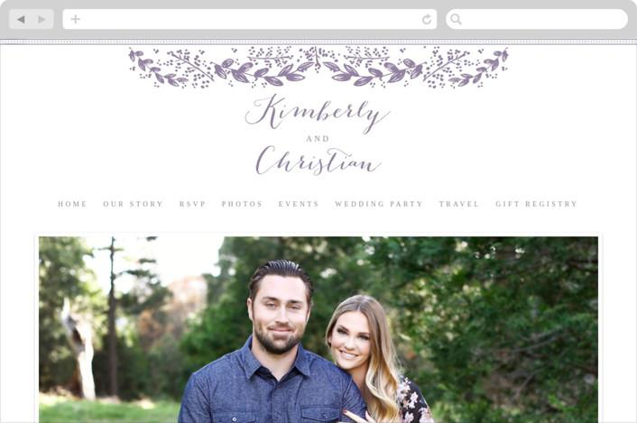 """""""Vintage Flora"""" - Floral & Botanical, Elegant Wedding Websites in Lavender by Sarah Curry."""