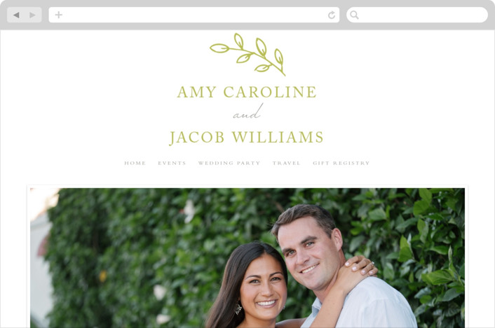 """Leaves"" - Simple, Elegant Wedding Websites in Lime by Waldo Press."