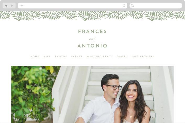 """Filigree"" - Floral & Botanical Wedding Websites in Moss by Phrosne Ras."