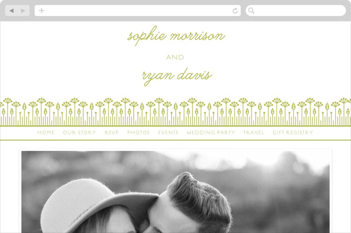 """spring meadow"" - Floral & Botanical, Rustic Wedding Websites in Lime by Karen Glenn."