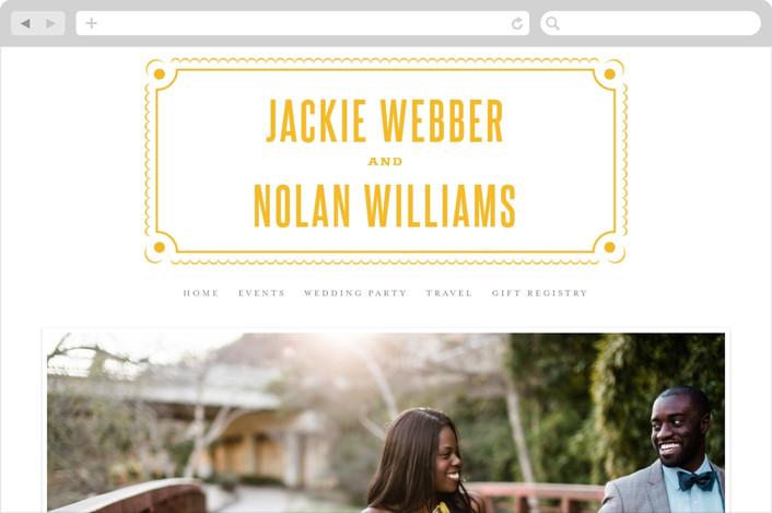 """Delicate Frame"" - Classical, Vintage Wedding Websites in Mustard by Jana Volfova."